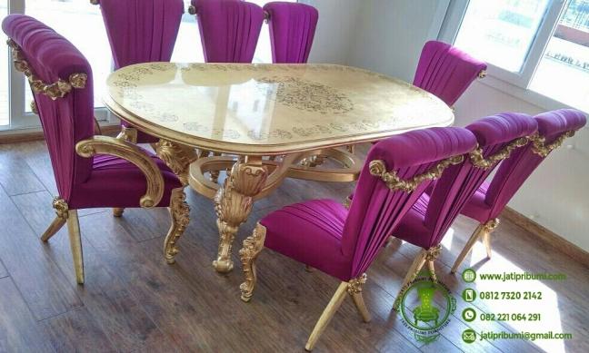 set meja makan klasik eropa ukir jepara warna emas terbaru kualitas terbaik
