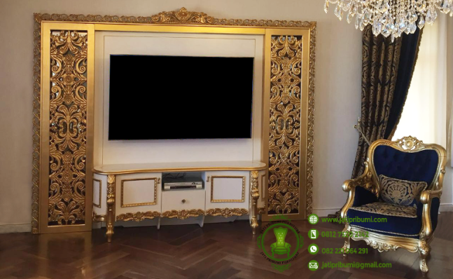 backdrop meja tv ukir emas