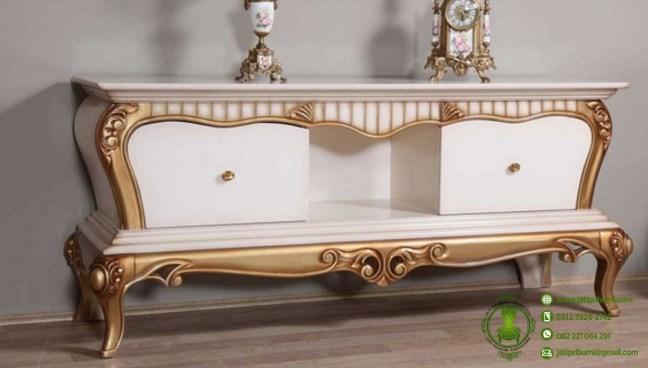 meja tv ukir putih emas